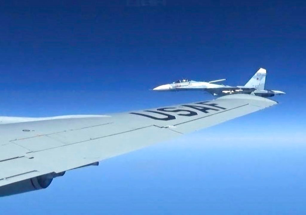 Dramatic photos of a Russian jet coming within a few feet of a U.S. Air Force reconnaissance jet over the Baltic Sea released Friday June 23, 2017