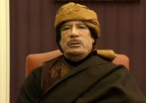 This video image taken from Turkish television Libyan leader Moammar Gadhafi is seen during an interview with the TV channel TRT, in Tripoli, Libya, Tuesday March 8, 2011. (AP Photo/TRT)
