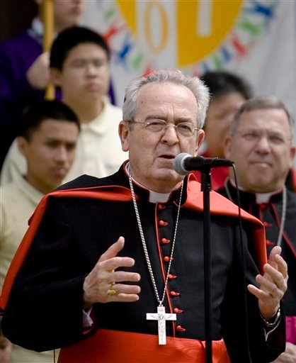 In this April 8, 2008 file photo, Cardinal Justin Rigali, Archbishop of Philadelphia, leads a celebration for the bicentennial of the Archdiocese of Philadelphia at the Cathedral Basilica of Saints Peter and Paul in Philadelphia.