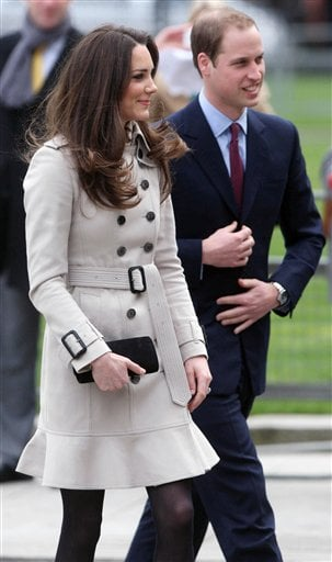 Britain's Prince William, right and his bride-to-be Kate Middleton, at Belfast City Hall, Belfast during their visit to Northern Ireland Tuesday March 8, 2011.