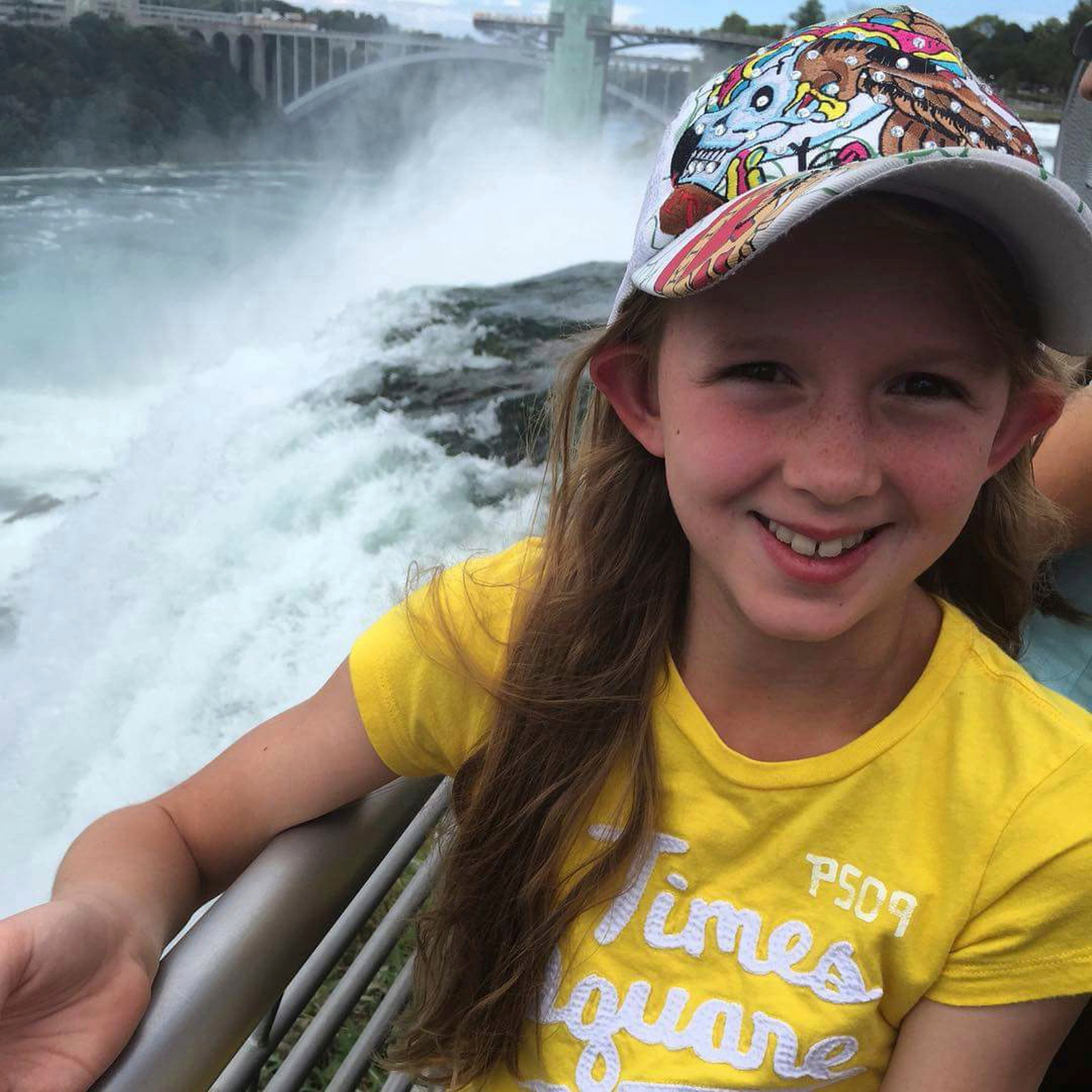 This undated photo provided by Heather Kester, shows Savannah, at Niagara Falls, N.Y., whose mother requested only her first name be used. (Heather Kester via AP)