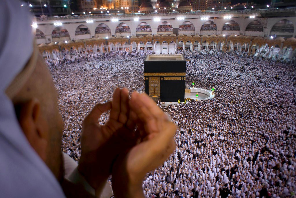 A Muslim worshipper prays during Laylat al-Qadr, Night of Decree, on the 27th day of the holy fasting month of Ramadan