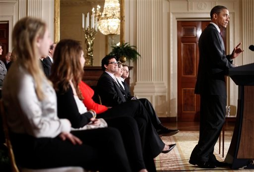 President Barack Obama speaks at the opening at the Conference on Bullying Prevention in the East Room of the White House in Washington, Thursday, March, 10, 2011.