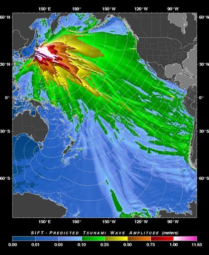 """This image provided by the Pacific Tsunami Warning Center shows a """"tsunami forecast model"""" created by the Pacific Tsunami Warning Center in Ewa Beach, Hawaii predicting the wave height of the tsunami generated by the Japan earthquake Friday March 11, 2011"""