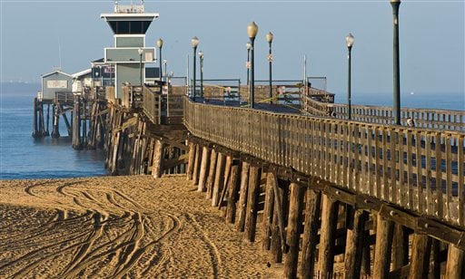 The shore and pier at Seal Beach, Calif. are closed to the public as officials wait for a tsunami warning to pass on Friday, March 11, 2011, after a major earthquake and tsunami struck Japan.