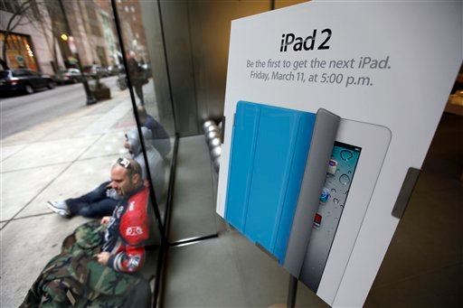 Customer Josh Lehman, is the first in line waiting to purchase an Apple iPad 2 scheduled to go on sale later today, in Philadelphia, Friday, March 11, 2011.
