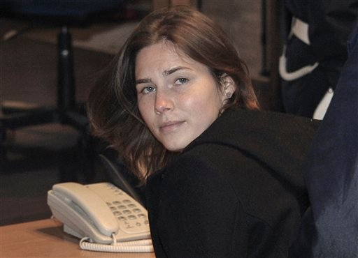 Amanda Knox arrives in court in Perugia, central Italy, Saturday, March 12, 2011, as her appeals murder trial resumes in Italy after a two-month break. (AP Photo/Stefano Medici)