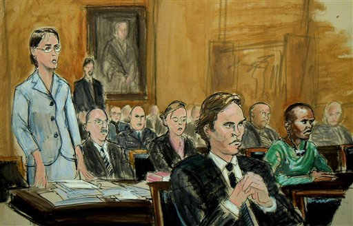 In this courtroom drawing, Federal Defender Fiona Doherty, left, addresses the Court as other members of her defense team, Philip Weinstein, second left, and Deirdre vonDornum, third left, listen.
