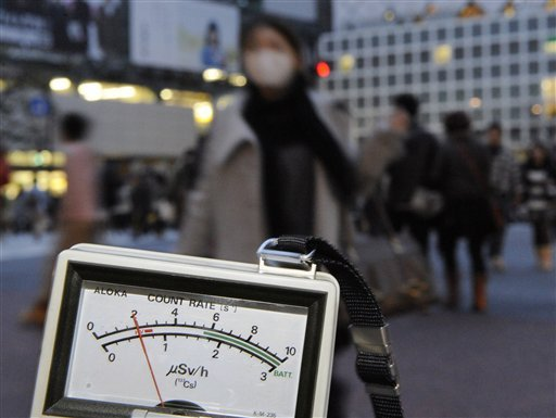 A radiation detector marks 0.6 microsieverts, exceeding normal day data Tuesday March 15, 2011, near Shibuya train station in Tokyo, four days after a strong earthquake damaged a nuclear power plant in Fukushima Prefecture, northeastern Japan.