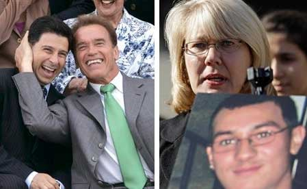 (Left) Former Gov. Schwarzenegger, right, and former Assembly Speaker Fabian Nunez. (Right) Kathy Santos, mother of Luis Santos who was stabbed to death.