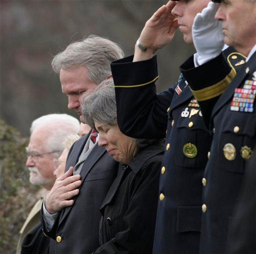 Susannah Flanagan, center, daughter of Army Cpl. Frank Buckles, the last American veteran of World War I, attends the graveside funeral service for her father.