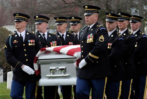 he casket of Army Cpl. Frank Buckles, the last American veteran of World War I, is carried to the graveside funeral service at Arlington National Cemetery.