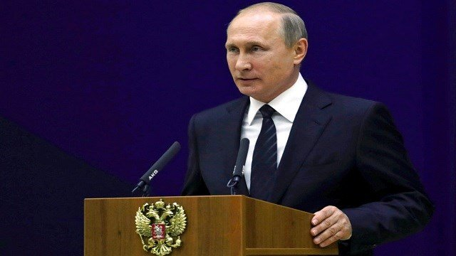 Russian President Vladimir Putin speaks before the officers of the Russian Foreign Intelligence.
