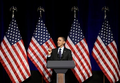 President Barack Obama speaks at a Democratic National Committee event at a hotel in Washington, Wednesday, March 16, 2011.