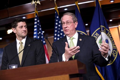 House Speaker Paul Ryan, R-Wis., left, is joined by House Judiciary Committee Chairman Bob Goodlatte, R-Va., right, as the Republican-led House pushes ahead on legislation to crack down on illegal immigration, during a news conference at the Capitol in Wa