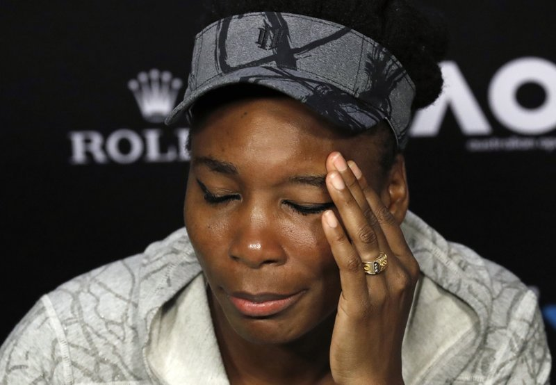In this Jan. 28, 2017, file photo, Venus Williams answers questions at a press conference following her loss to sister Serena in the women's singles final at the Australian Open tennis championships in Melbourne, Australia.