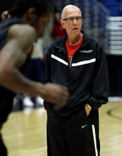 San Diego State head coach Steve Fisher watches his team during a basketball practice Wednesday, March 16, 2011, in Tucson, Ariz. San Diego State will face Northern Colorado in a west regional NCAA college basketball tournament second round game.