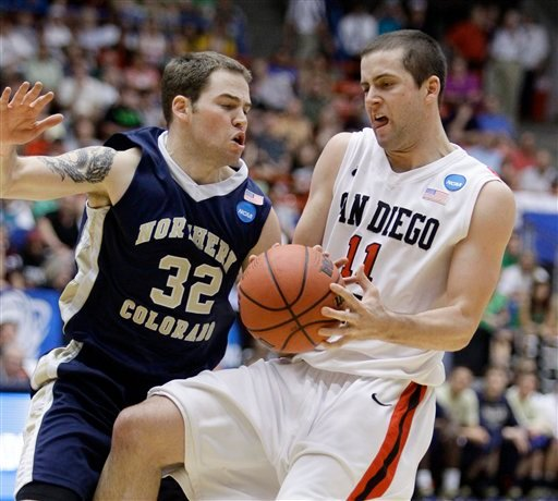 San Diego State's James Rahon (11) and Northern Colorado's Devon Beitzel (32) battle for possession.