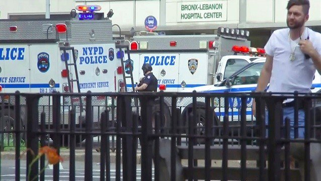 Emergency personnel converge on Bronx Lebanon Hospital in New York.