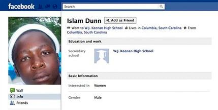 In this undated frame-grab image from Facebook, Islam Dunn's Facebook page is seen. Dunn is a prisoner in South Carolina who is serving 20 years for attempted armed robbery nearly two years ago. (AP Photo)