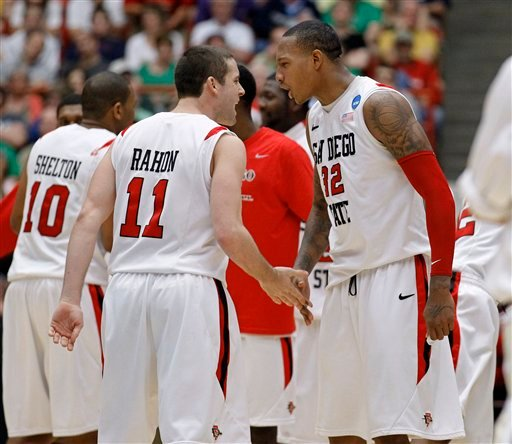 San Diego State's James Rahon (11) and Billy White (32) celebrate against Northern Colorado in a West Regional NCAA college basketball tournament.