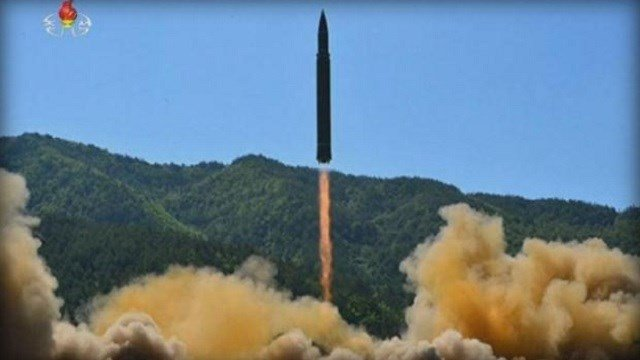 Image of a missile being test-launched by North Korea, at the Seoul Railway Station in Seoul, South Korea.