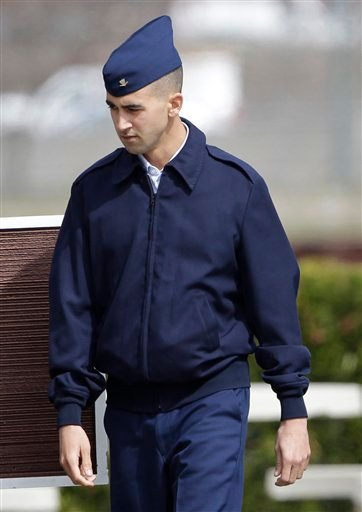 Coast Guard Petty officer Paul Ramos arrive at his Coast Guard court martial in Alameda, Calif., Monday, March 7, 2011.