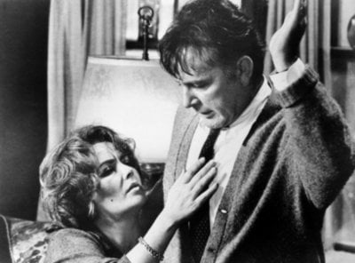 FILE - This 1966 file photo shows Elizabeth Taylor in the role of Martha, and Richard Burton in the role of George in a scene from the 1966 movie 'Who's Afraid of Virginia Woolf?'