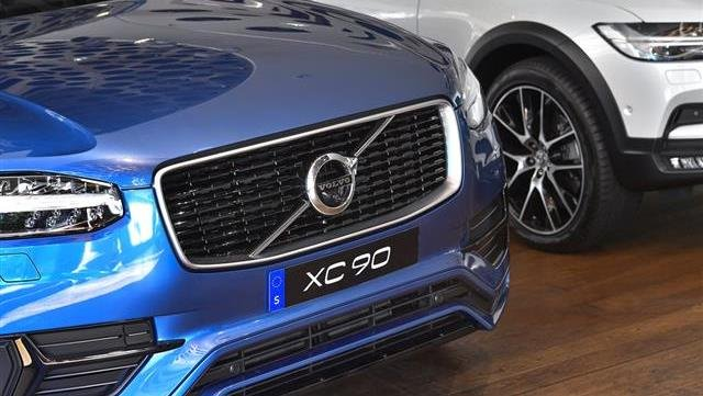 A Volvo XC 90 during an interview with Volvo Cars CEO Hakan Samuelsson at Volvo Cars Showroom in Stockholm, Sweden.