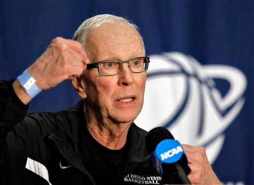 SDSU head coach Steve Fisher speaks to the media during a news conference for the West regional third round NCAA tournament college basketball game March 18, 2011, in Tucson, Ariz. San Diego State plays Temple on Saturday. (AP Photo/Matt York)