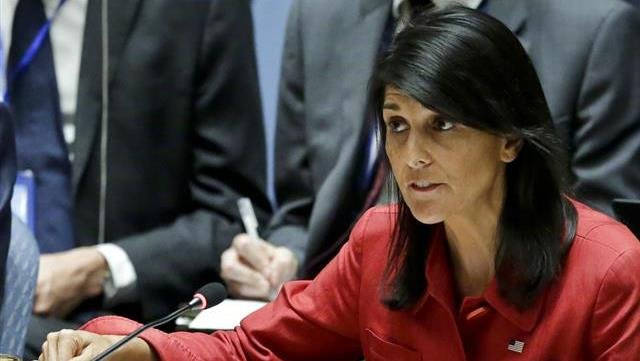 United States U.N. Ambassador Nikki Haley, respond to Russia's statements, during United Nations Security Council meeting on North Korea's latest launch of an intercontinental ballistic missile, at U.N. headquarters.