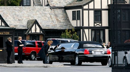 A stretch limousine arrives at Forest Lawn Cemetery for funeral services for Elizabeth Taylor Thursday March 24, 2011 in Glendale, Calif.