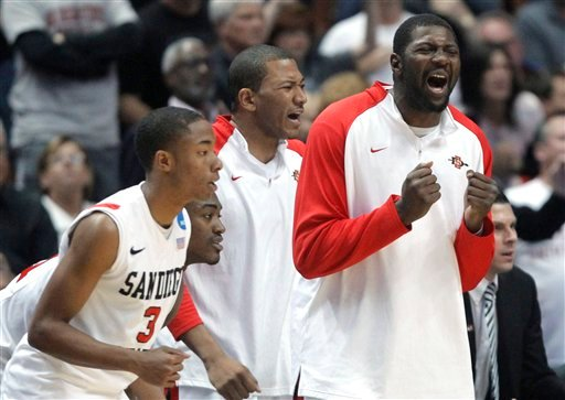 San Diego State's bench reacts during the second half of a West regional semifinal against Connecticut in the NCAA college basketball tournament Thursday, March 24, 2011, in Anaheim, Calif.