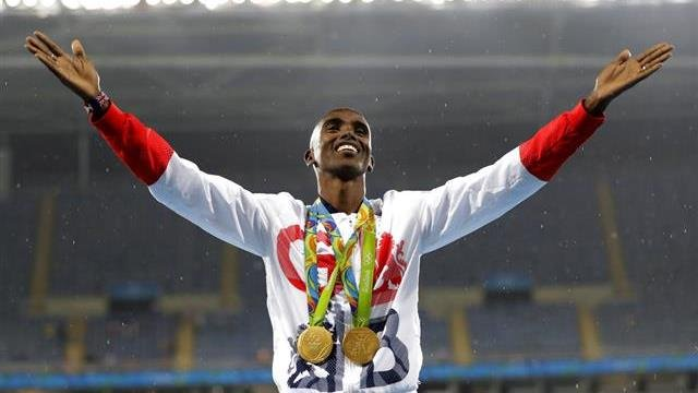 Britain's Mo Farah celebrates winning the gold medal at the men's 5000-meter medals ceremony, during the athletics competitions of the 2016 Summer Olympics at the Olympic stadium in Rio de Janeiro, Brazil. Data posted by Russian-linked hackers show four-t