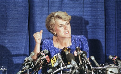 In this Aug. 21, 1984 file picture, Geraldine Ferraro explains the finances of herself and husband during a news conference in the Queens borough of New York. (AP)