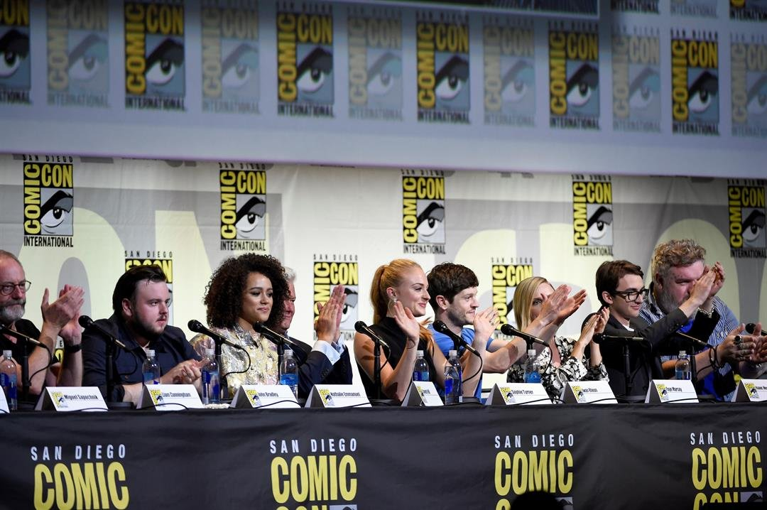 "Liam Cunningham, John Bradley, Nathalie Emmanuel, Conleth Hill, Sophie Turner, Iwan Rheon, Faye Marsay, Isaac Hempstead Wright & Kristian Nairn attend the ""Game of Thrones"" panel on day 2 of Comic-Con International in 2016, in San Diego. (AP)"