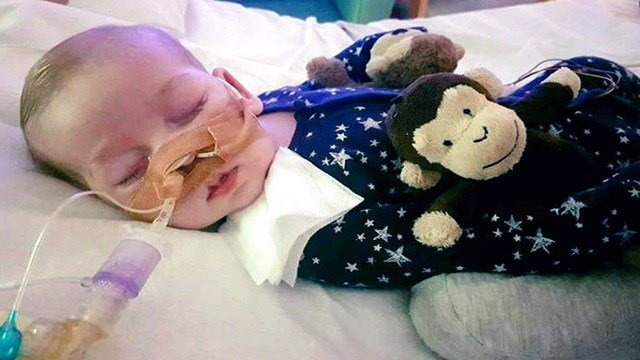 Photo of Charlie Gard provided by his family, at Great Ormond Street Hospital, in London.