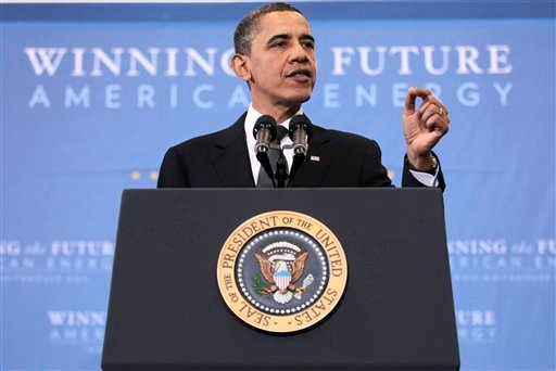 President Barack Obama gestures during his speech on America's energy security, Wednesday, March 30, 2011, at McDonough Gymnasium at Georgetown University in Washington. (AP Photo/Pablo Martinez Monsivais)