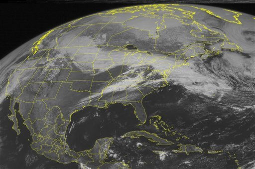 This NOAA satellite image taken March 23, 2011 at 01:45 PM EDT shows widespread cloud cover extending from the Upper Midwest through southern New England and the northern Mid-Atlantic. (AP Photo/Weather Underground)