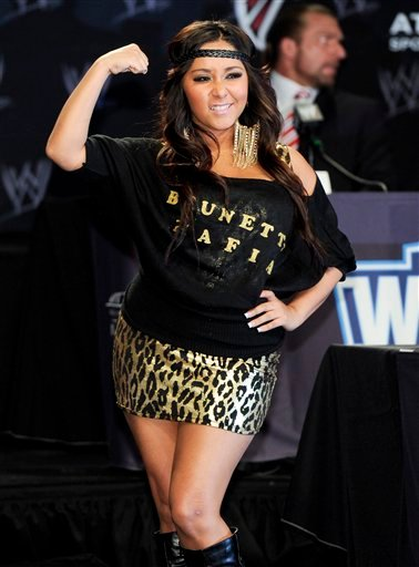 "Reality television star Nicole ""Snooki"" Polizzi participates in a Wrestlemania XXVII press conference at the Hard Rock Cafe on Wednesday, March 30, 2011 in New York. (AP Photo/Evan Agostini)"