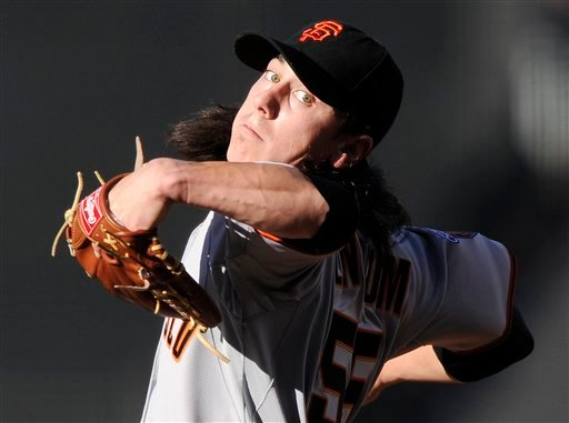 San Francisco Giants starting pitcher Tim Lincecum throws to the plate during the first inning of the Los Angeles Dodgers' home-opener baseball game, Thursday, March 31, 2011, in Los Angeles. (AP Photo/Mark J. Terrill)