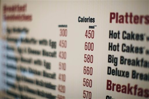 FILE - In this July 18, 2008 file photo, calories of each food item appear on a McDonalds drive-thru menu in New York.