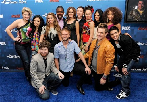"""American Idol"" finalists pose together at the ""American Idol"" Finalists Party in Los Angeles, Thursday, March 3, 2011."