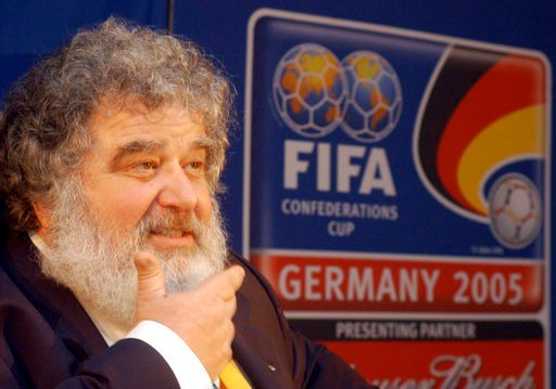 FILE - In this Feb. 14, 2005 file photo, Confederation of North, Central American and Caribbean Association Football (CONCACAF) general secretary Chuck Blazer attends a press conference in Frankfurt, Germany. (AP Photo/Bernd Kammerer, File)