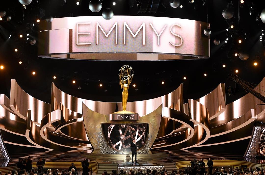 FILE - This Sept. 18, 2016 file photo shows the main stage during the 68th Primetime Emmy Awards in Los Angeles. This year's Emmy Awards will air Sept. 17 on CBS with host Stephen Colbert. (Photo by Chris Pizzello/Invision/AP, File)