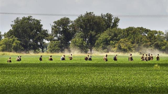 Military personnel search the fields surrounding the site of a military plane crash near Itta Bena in Leflore County, Miss., Wednesday, July 12, 2017. The military transport plane that slammed into soybean fields Monday in the Mississippi Delta, killing M