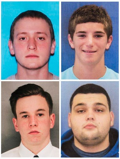 Tom Meo, top left; Jimi Tar Patrick, bottom left; Dean Finocchiaro, top right; and Mark Sturgis, bottom right. Cosmo DiNardo, a 20-year-old.