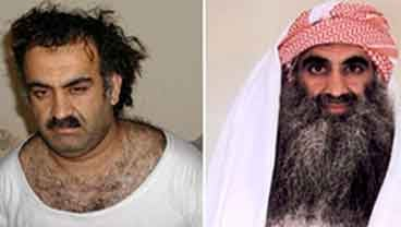 At left a March 1, 2003 photo obtained by the Associated Press shows Khalid Sheikh Mohammed, the alleged Sept. 11 mastermind, shortly after his capture during a raid in Pakistan. (AP Photo/www.muslm.net)