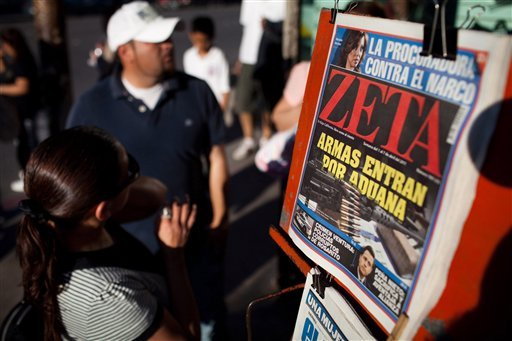 The weekly Zeta magazine on sale at a newsstand in Tijuana, Mexico Friday April 1, 2011. Mexico's Zeta magazine has set a standard for aggressive coverage of Mexican drug traffickers and complicit government officials.
