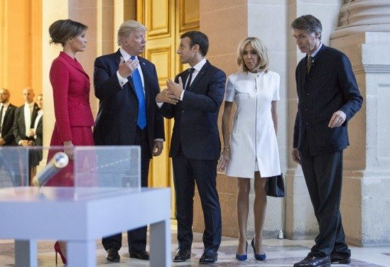 President Donald Trump, first lady Melania Trump, French President Emmanuel Macron his wife Brigitte Macron.